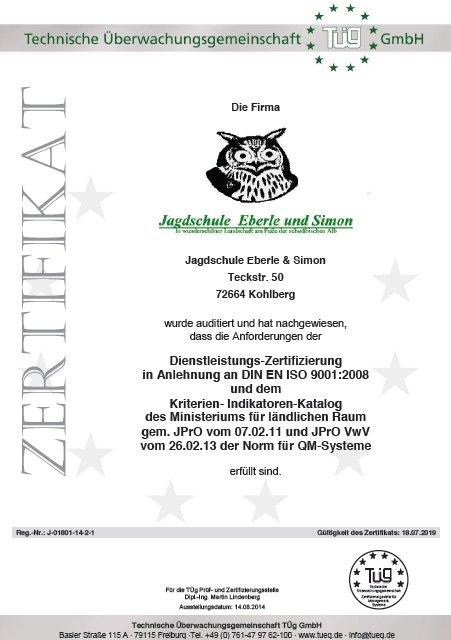 Zertifikat der Jagdschule Eberle & Simon
